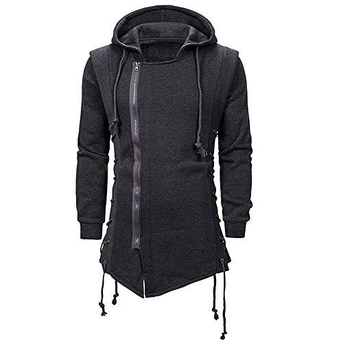CNSTORE Men's Fashion Hoodie Assassins Creed Side Lace Up Fleece Gothic Hoodies Sweatshirt Dark Gray