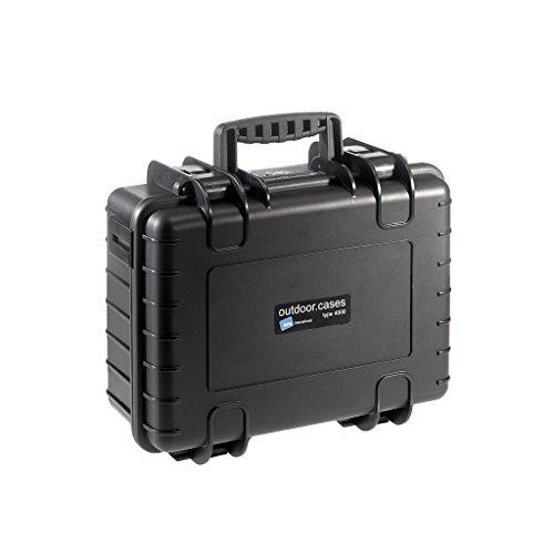 B&W Outdoor Case Hartschalenkoffer Typ 4000 mit Schaumstoff (Hardcase Koffer IP67, SI Würfelschaum, wasserdicht, Innenmaß 38,5x26,5x16,5cm, Schwarz)