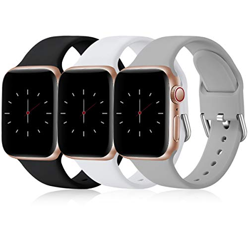 Wepro 3 Pack Correas Compatible con Apple Watch Correa 38mm 42mm 40mm 44mm, Correa de Silicona Suave de Repuesto Compatible con iWatch Series 6, 5 4 3 2 1, SE, 42mm/44mm-M/L, Negro/Blanco/Gris