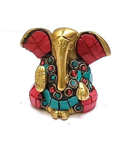 PARIJAT HANDICRAFT A Colored & Golden Statue of Lord Ganesh Ganpati Elephant Hindu God Made from Solid Brass Metal with Turquoise Gem-Stone
