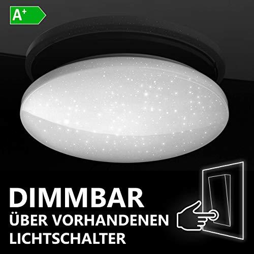 Lumira LED Deckenleuchte Sternenhimmel, 24W Deckenlampe dimmbar über Lichtschalter, Rund, 330mm Durchmesser, Warmweiß