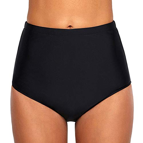 Ecute Damen Bikini Hose High Waist Bikinihose Hoher Taille Schwimmen Slip, XXXL=EU44-46, Schwarz