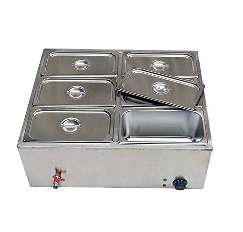 Commercial Food Warmer, stainless steel 6 Pan Hot Well Bain Marie Food Warmer 110V 850W Steam Table...