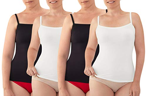 Fruit of the Loom Fit for Me Seamless Cami 4-Pack, 2Black/2White, 3X