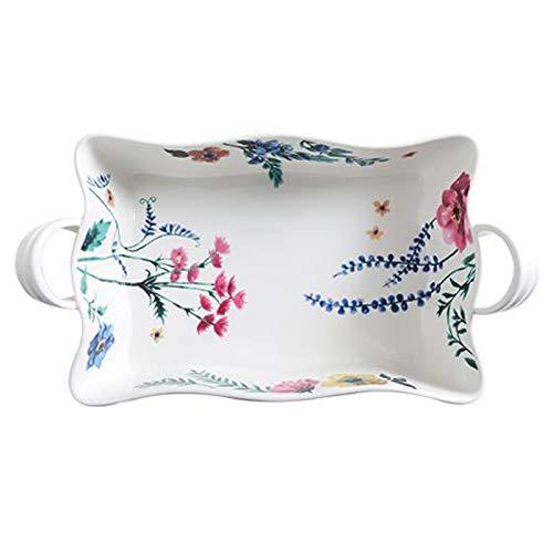 Bandeja de cerámica para hornear de doble oreja, horno microondas, especial para horno, arroz al horno con queso, plato de pescado, pasta de frutas (Color : White, Size : 7.87 * 5.11 * 2.16inch)