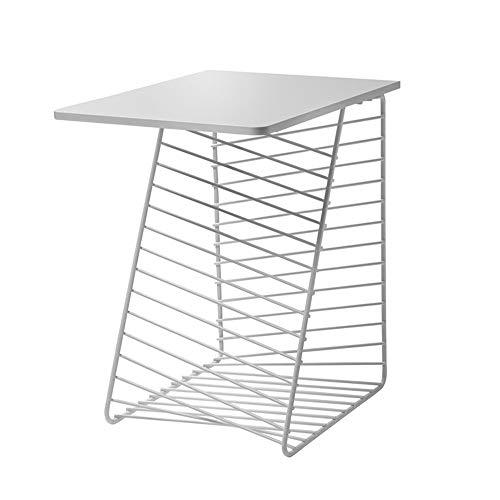 Tables FEI - Bureau d'ordinateur d'appoint en Fer forgé, étagère de Rangement d'appoint de canapé pour Tous Les postes de Travail (Couleur : Blanc)