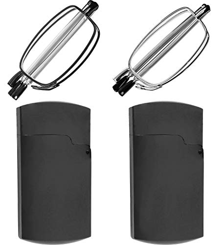 Reading Glasses 2 Pair Black and Gunmetal Readers Compact Folding Unisex Glasses for Reading Case Included, Set of Black and Gunmetal, 50 mm