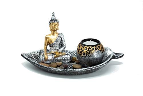 Buddha Set mit Blattschale Teelichthalter Dekofigur inklusive Deko-Steinen zur Meditation