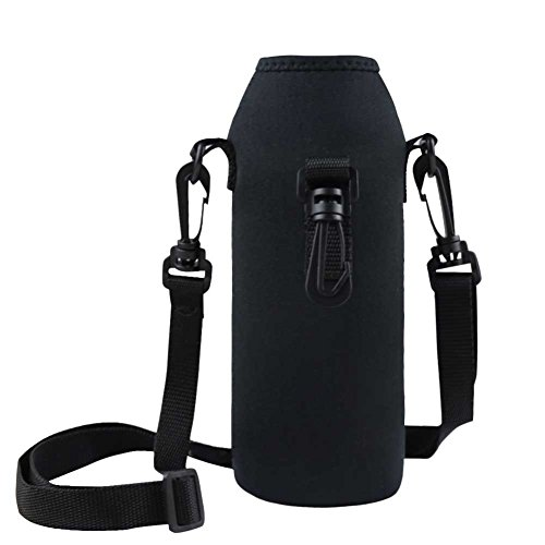 FEESHOW Neopren Tragetasche Flaschen Hülle 1 L Schutzhülle für Flaschen Thermo-Hülle Flaschetasche Isolierhülle mit Gürtel und Karabinerhaken Schwarz schwarz one Size