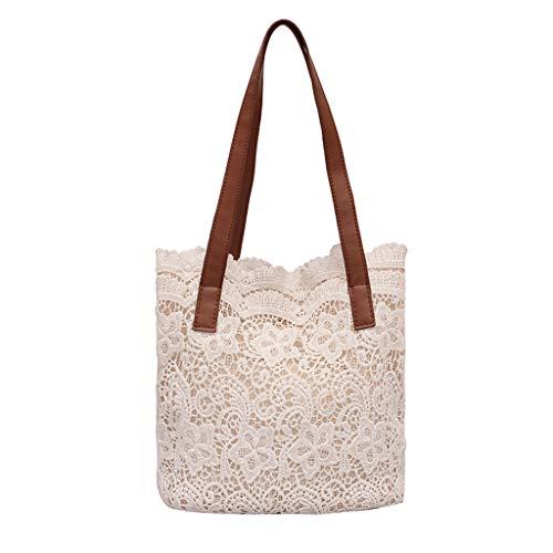 Allegorly 2-in-1-Handtasche mit floralem Spitze, für Damen, Strandtasche, Messenger Bag Tote Boho-Schultertasche weiß