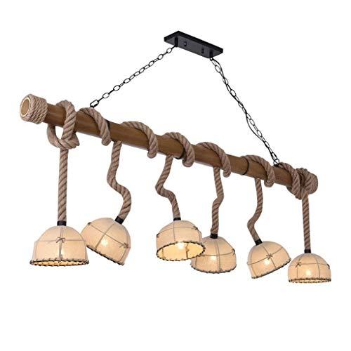 TAIDENG Araña de cáñamo retro grande, 6 cubre de tela de bambú Cuerda de cáñamo tejida a mano, eslinga ajustable, E27 Sala de estar/comedor/Cafetería/Luz de barra