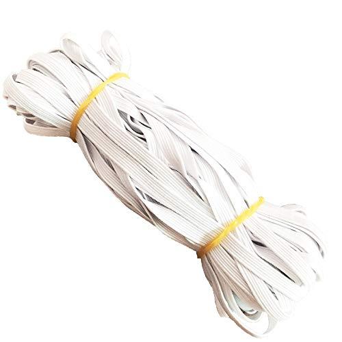 Braided Elastic Band, Elastic Rope Elastic Cord Heavy Stretch High Elasticity Knit String for Sewing Crafts DIY,Bedspread,Cuff(White, 22-Yards Length, 1/4' Width) (22 Yards)