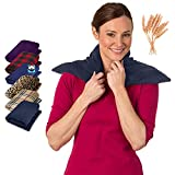SunnyBay Extra Large Body Heat Wraps - Hot and Cold Therapy Pad Warmer or Microwavable Heating Pads - Upper & Lower Back, Shoulder & Heated Neck Wrap - Gifts for Men & Women (Midnight Blue)