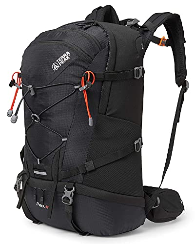 Terra Peak Flex 40 Wanderrucksack 40L für Herren Damen schwarz mit wasserdichtem Polyester hochwertiger Trekkingrucksack Outdoor Daypack mit YKK Reisverschluss zum wandern und campen in der Natur