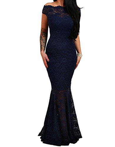 emmarcon Elegante Abito Cerimonia da Donna in Pizzo Stile Sirena Vestito Lungo Damigella Festa-Blue-S