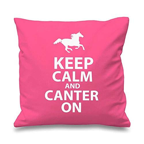 Housse de coussin rose « Keep Calm and Canter On » 40,6 x 40,6 cm - Cadeau décoratif pour fille ou amie