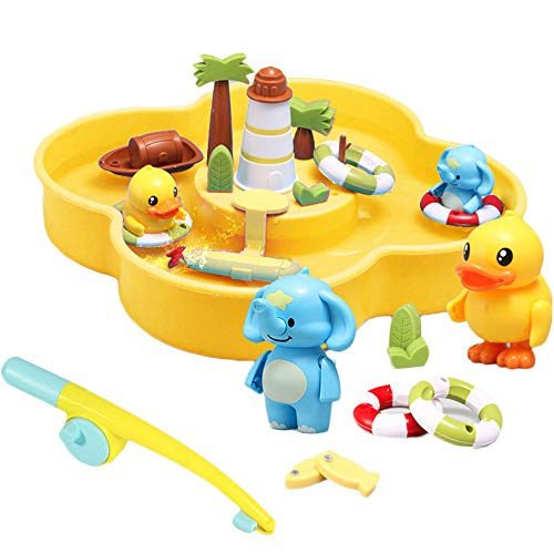 Arkmiido baby toy Sand and Water table bath toys for toddlers and babies water playing beach toy with Rotating propeller magnetic fishing game for kids