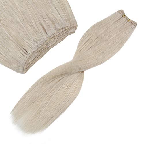 YoungSee 60 cm Echthaar Tressen Platinblond #60A Haartressen zum Einnahen Remy Human Hair Weft Extensions 100g