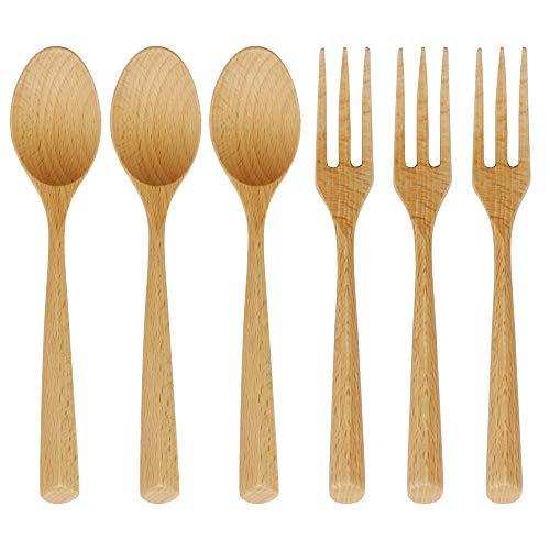 Wooden Forks and Spoons Set, ADLORYEA 6 Piece Natural Wood Eating Utensils, 7.5 Inch Handmade Korean Wooden Spoon for Pasta, Dinner, Tea, Salad Desserts, Chips, Snacks, Cereal, Fruit
