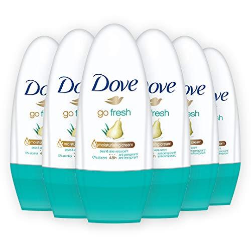 Dove Go Fresh Deodorante Roll-On alla Pera, 6 pezzi da 50 ml