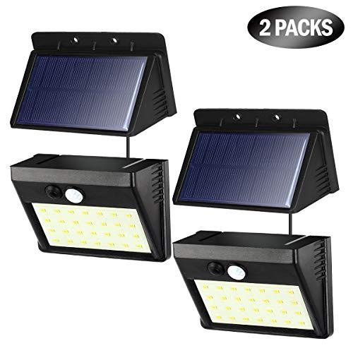 Solarlampen für Außen, T-SUN 2 Stück 28 LED Solarleuchten aussenleuchte mit bewegungsmelder, 3 Modi Wasserdichte Wandleuchte Solar Aussenleuchte Solarlicht für Garten Außen(Kaltes Weiß 6000K))