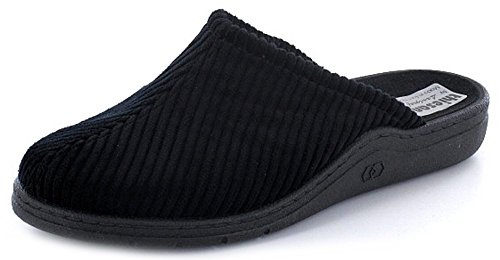 THIESANA BY LANDGRAF Herren Cord Hausschuh Pantolette Schwarz weich, Schuhgröße:EUR 42