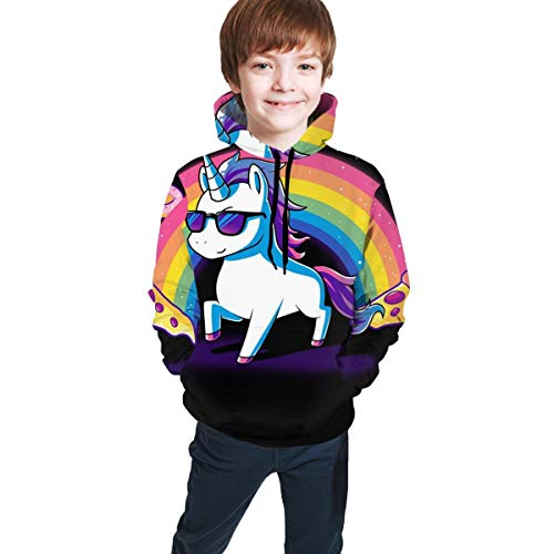 Kids Hooded Sweatshirts 3D Graphic Printed Pullover Hoodies for Boys Girls Colorful Pattern Drawstring Tops Comfort Active Hoodie with Pockets,Rainbow Unicorn Pizza,M