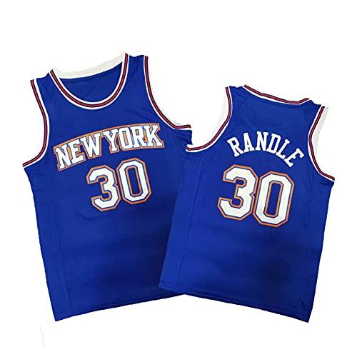 ZMQO Knícks 30# Rándlé Camisetas de Baloncesto para Hombres y Mujeres, Malla Bordada, Secado rápido, Moda S-XXL Blue-L
