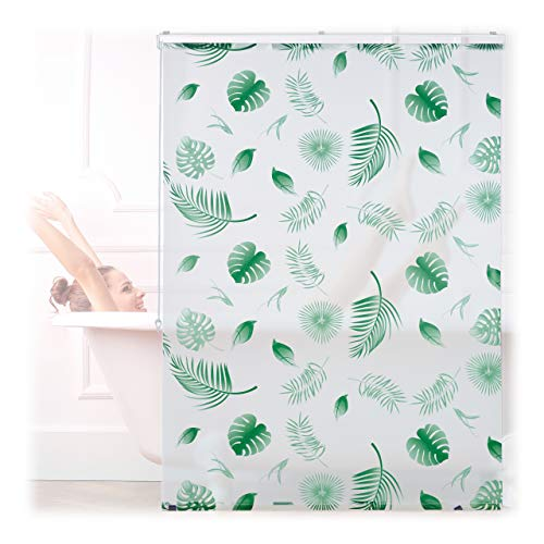 Relaxdays Duschrollo Blätter, 120x240cm, Seilzugrollo f. Dusche & Badewanne, wasserabweisend, Decke & Fenster, weiß/grün