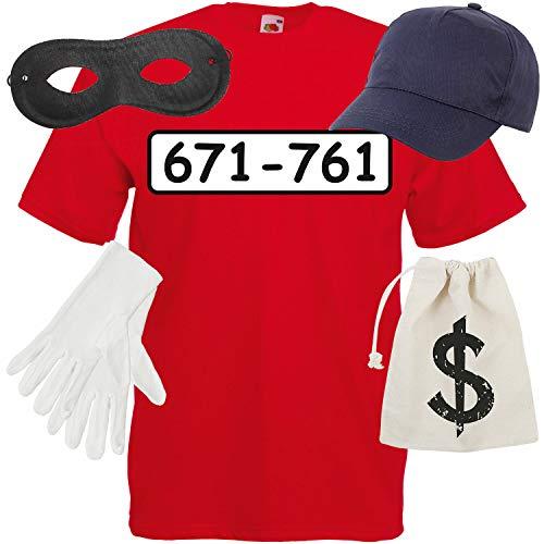 Shirt-Panda Kinder T-Shirt Panzerknacker Kostüm Verkleidung Karneval SET06 T-Shirt/Cap/Maske/Handschuhe/Beutel 140 ( 9-11 Jahre )