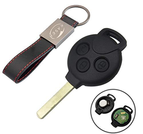 Schlüssel Fernbedienung für SMART mit Elektronische Karte Transponder 3 Tasten für FORTWO 451 Coupe' Roadster CROSSBLADE (433MHz ID46 Chip PCF7941)