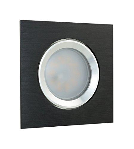 LED Einbaustrahler Einbaurahmen Einbaulampe Deckenleuchte Lampe Spot Einbauleuchte Einbauspot GU10 Deckenspot Deckenstrahler Deckenlampe 230V Rahmen SMD COB Rund Eckig aus der Serie Alu GIRA (s) (eckig/schwarz/gebürstet) inkl. LM-5 ( 7 Watt TEDI ) (kaltweiss)