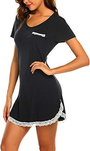 MAXMODA Damen Nachtkleid Nachthemd Spitze Nachtwäsche Sleepwear mit Tasche