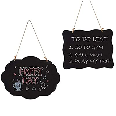 Woohome Chalkboard Signs with Hanging String, Double Sided Wooden Erasable Message Board for Party, Wedding, Kids Craft, Set of 2 Pack