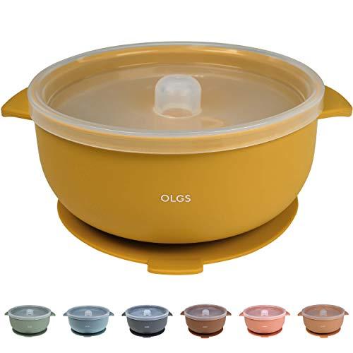 Silikon Schüssel mit Deckel Senf Gelb | Rutschfest, BPA-frei, leicht zu reinigen | Runde Breischale, Saug-Silikonschüssel für Baby und Kinder (Mustard)