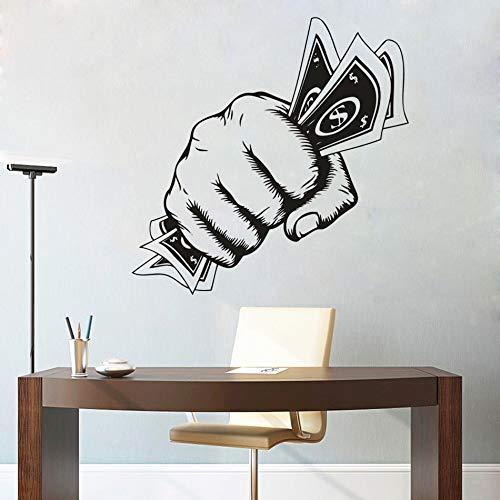 Money First Vinyl Wall Art Decal Oficina Decoración creativa Power Hand Etiqueta de la pared Primer diseño Pared Ventana Vinilo Póster Etiqueta de la pared decorativa A5 57x57cm