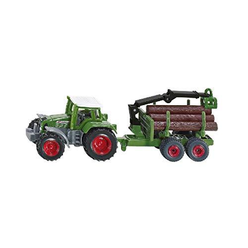SIKU 1645, Traktor mit Forstanhänger, Metall/Kunststoff, Grün, Inkl. 6 Baumstämmen