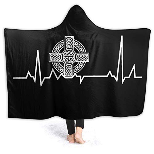 MAOYIHO Polo Celtic Cross Irish Scottish Heartbeat Hooded Blanket Kids & Adults Sherpa Fleece Blanket