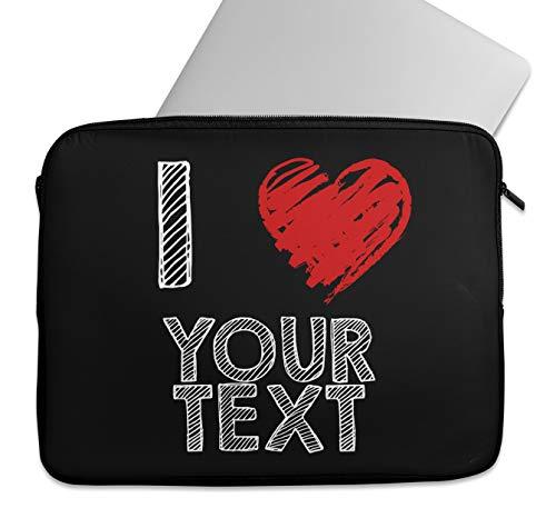 Funda protectora personalizada para ordenador portátil, diseño con texto 'I love Text', para Lenovo HP MacBook Air Pro Dell 12, 13, 14, 15, 15,4 pulgadas (9-10')