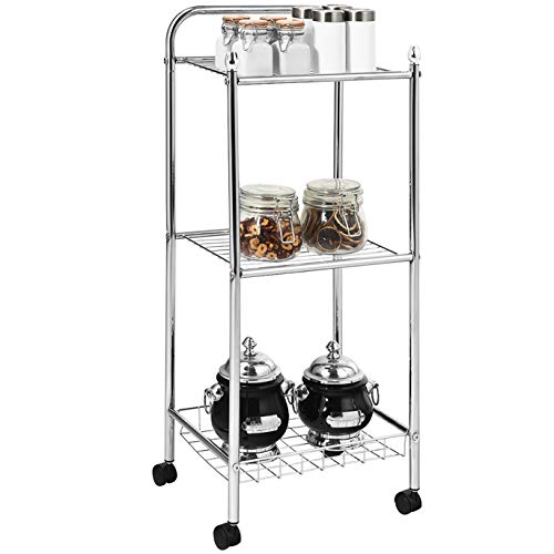 LDAILY Metal Kitchen Island Cart, 3-Tier Storage Shelving Organizer, Professional Kitchen Work Table Cart Utility, Rolling Service Cart on Wheels for Living Room, Bathroom