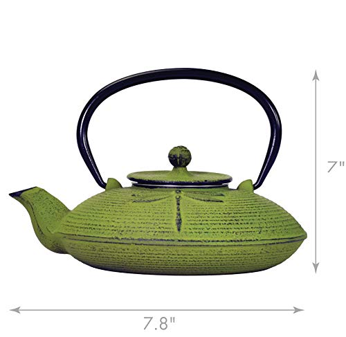 Primula Green Dragonfly Japanese Tetsubin Cast Iron Teapot Stainless Steel Infuser for Loose Leaf Tea, Durable Construction, Enameled Interior, 26 oz