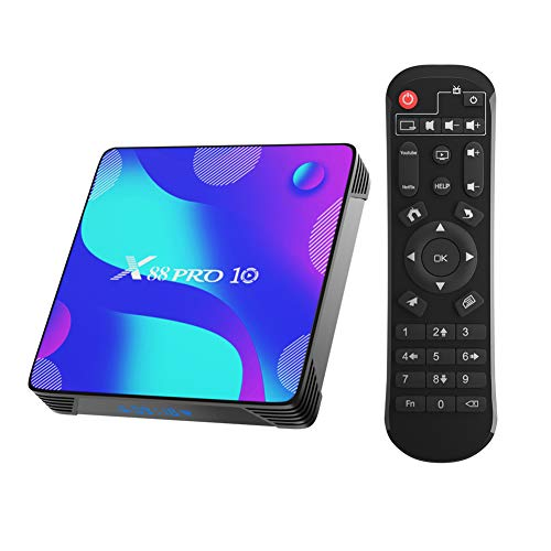 X88 Pro X10 Android 10.0 TV Box,4GB RAM 32GB ROM RK3318 Quad-Core 64bit Cortex-A53 Support 2.4/5.0GHz Dual-Band WiFi BT4.0 3D 4K 1080P H.265 10/100M Ethernet HDMI2.0 Smart TV Box