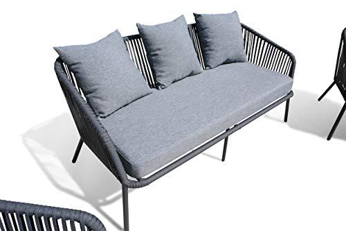 GRASEKAMP Qualität seit 1972 Lounge Sitzgruppe 4 teilig mit dicken Kissen Grau Coffee Set Arezzo Aluminium Loungeset Garten Sitzgruppe Loungemöbel - 4