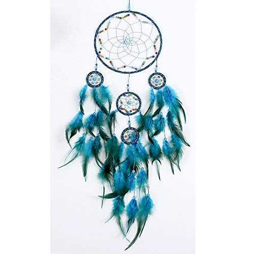 GLAKCO Dream Catchers,Colors Feather Dream Catchers for Bedroom Wall Decoration for Kids 8' W 29.5' L (Blue)
