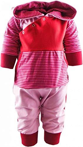 KLEINER FRATZ gestreiftes Baby/Kinder Langarm Kaputzen Overall Kairo mit Bauchtasche (Farbe rot-Fuchsia/rosa) (Größe 86/98)
