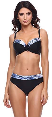 Merry Style Damen Bikini Set P63581 (Schwarz/Graphit, Cup 90 G/Unterteil 44)