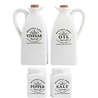 Oil and Vinegar Dispenser Set with Salt and Pepper Shakers | Elegantly Designed Porcelain Bottle and Shaker Collection