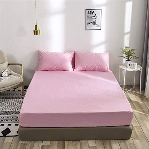 N / A deep fitted sheets,Waterproof bed cover for boys and girls, hotel king mattress protector, apartment bedroom fitted sheets-Pink_100cm×190cm+35cm