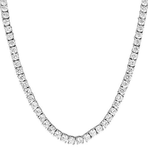Bling Bling NY New 1 Row Tennis Necklace/Bracelet 20/22/24 Inch Silver Finish Lab Created Diamonds 4MM Iced Out Solitaires (Chain 18'')