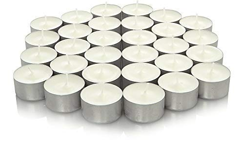 We Can Source It Ltd – Long Burning Tea Light Candle – White Unscented 8hr Tea Light Candle - in Metal Candle Holder – Decorative Smokeless Candle – 150pc